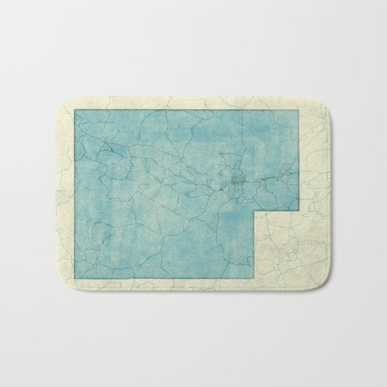 Utah State Map Blue Vintage Bath Mat