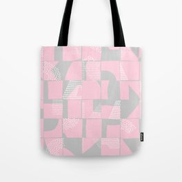 Blush and Gray Typographical Fragments Cheater Quilt Tote Bag