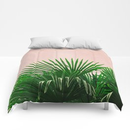 Palm Leaves On Pink Background Comforters