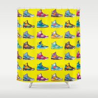 sneaker Shower Curtains featuring Colorful Sneaker set illustration No 1 by MiartDesignCreation