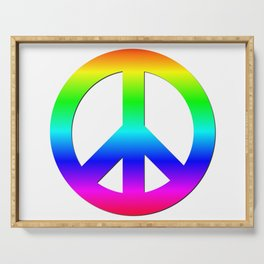 Bright Neon Rainbow CND Peace Symbol Serving Tray