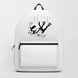 Dog Without A Care Free Falling - Black And White Lowbrow Cartoon Backpack