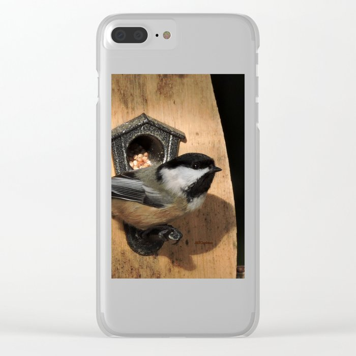 Black-Capped Chickadee at the Feeder Clear iPhone Case