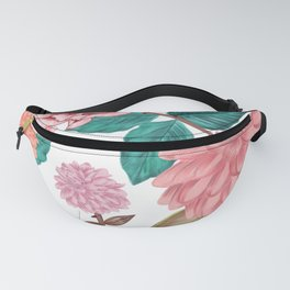 Hand drawn Carnation and Dahlia spring time cheerful pattern white Fanny Pack