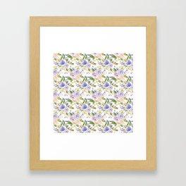 Blush pink lavender lilac green watercolor floral Framed Art Print