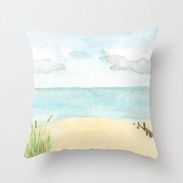Watercolor beach scene Throw Pillow