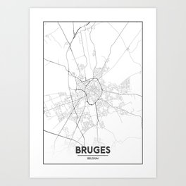 Minimal City Maps - Map Of Bruges, Belgium. Art Print