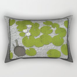 Water lilies with Florida Soft-shell Turtle Rectangular Pillow