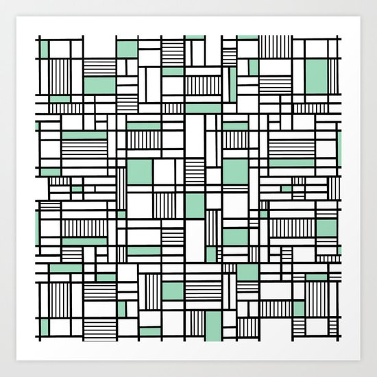 Map Lines Mint Art Print