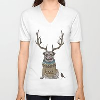 huebucket V-neck T-shirts featuring Deer Pug by Huebucket