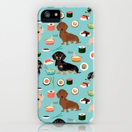 dachshund sushi multi coat doxie dog breed cute pattern gifts iPhone Case