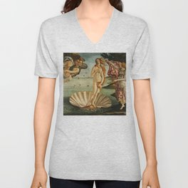 The Birth of Venus (Nascita di Venere) by Sandro Botticelli Unisex V-Neck