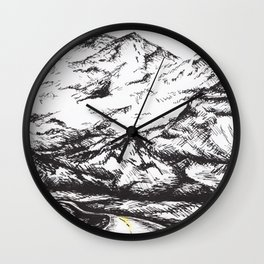 Way to the mountains Wall Clock
