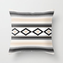 Modern Mexican Serape in Tan Throw Pillow