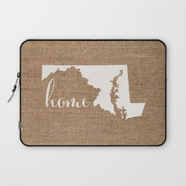 Maryland is Home - White on Burlap Laptop Sleeve