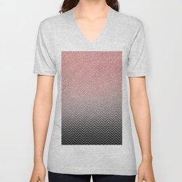 Blush chic pink  silver faux glitter geometrical Unisex V-Neck