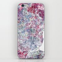 detroit iPhone & iPod Skins featuring Detroit map by MapMapMaps.Watercolors