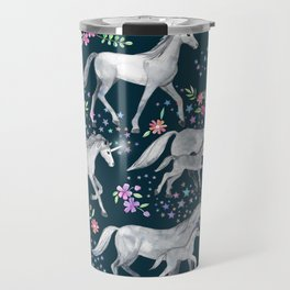Unicorns and Stars on Dark Teal Travel Mug