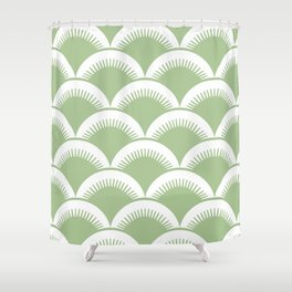Japanese Fan Pattern Sage Green Shower Curtain
