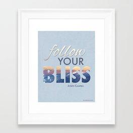 Follow Your Bliss Joseph Campbell Modern Motivational Quote Framed Art Print