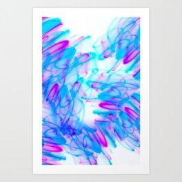 Abstract Art with Swirls Aqua and Magenta Art Print