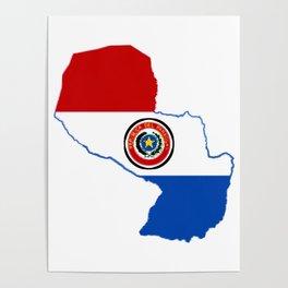 Paraguay Map with Paraguayan Flag Poster