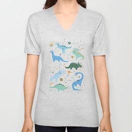 Dinosaurs in Space in Blue Unisex V-Neck