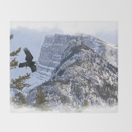 Mt Rundle & Raven (Canadian Rockies) Throw Blanket