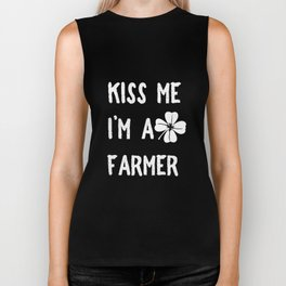 Kiss Me I_m A Farmer With Clover St Patrick's Day Biker Tank