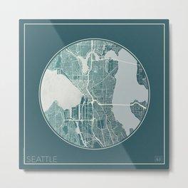 Seattle Map Planet Metal Print