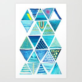 Triangle Study in Blue Art Print
