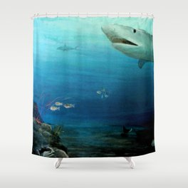 Shark Swimming by Fish in the Ocean Shower Curtain
