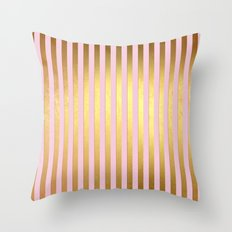 Striped- Pink and gold luxury stripes design Throw Pillow