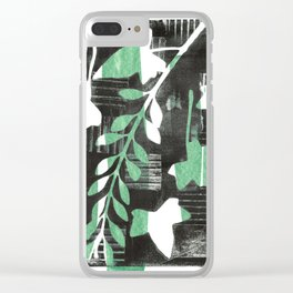 Modern Botanical Ivy Laurel Monoprint Green Clear iPhone Case