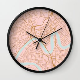 Pink and gold Brisbane map Wall Clock