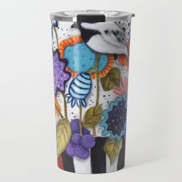 Chickadee Garden Floral Travel Mug
