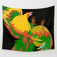 rooster Wall Tapestries featuring Rooster by Saundra Myles