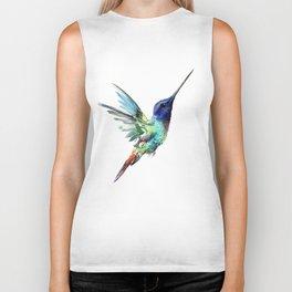 Flying Hummingbird flying bird, turquoise blue elegant bird minimalist design Biker Tank