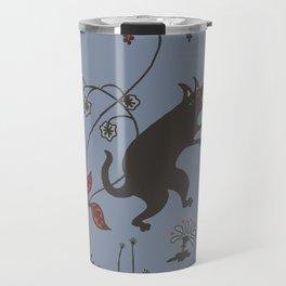Black Dog Dancing in a Gorey Garden Travel Mug