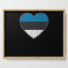 Estonia Flag Love Heart Serving Tray
