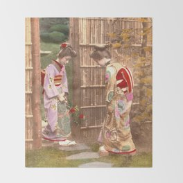 Japanese women walking on stepping stones Throw Blanket