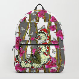 RED-YELLOW  ORIENTAL STYLE BUTTERFLIES & PINK ROSES GREY PATTERN DESIGN FROM SOCIETY6   BY SHARLESAR Backpack