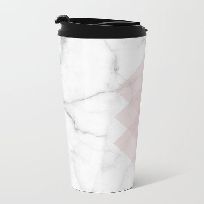 White Marble Scandinavian Geometric Blush Pink Squares Metal Travel Mug