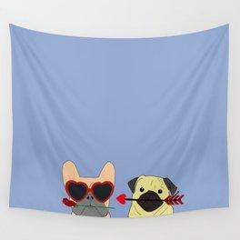 Pug and Bulldog Love Wall Tapestry