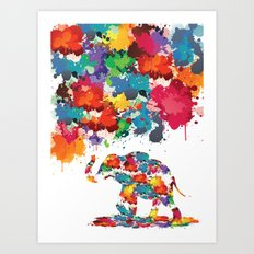 Paint elephant Art Print
