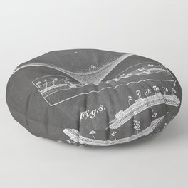 Football Patent - American Football Art - Black Chalkboard Floor Pillow
