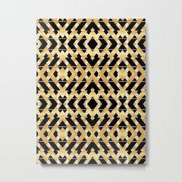 Gold Foil and Black Art Deco Chevron Metal Print