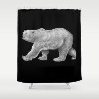 polar bear Shower Curtains featuring Polar Bear by Tim Jeffs Art