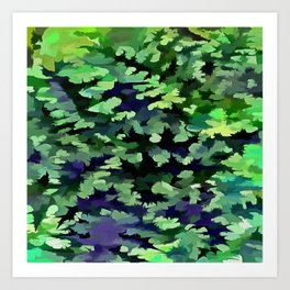 Foliage Abstract Camouflage In Forest Green and Black Art Print