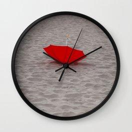 Lost red Umbrella Wall Clock